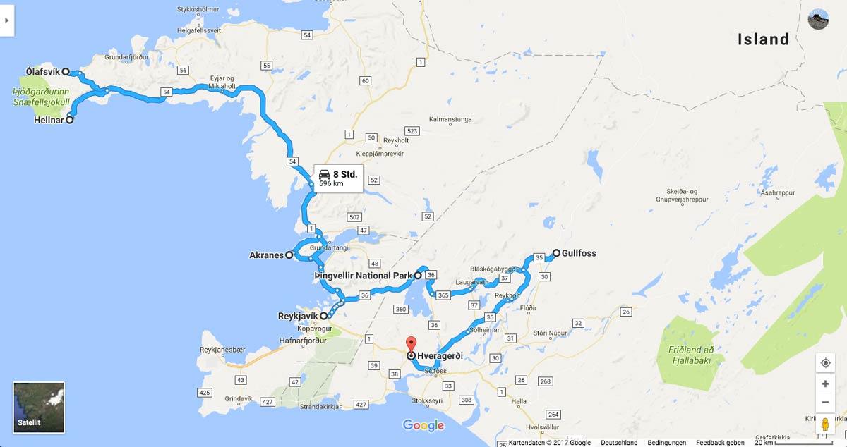 Island Tour - Der Osten Karte