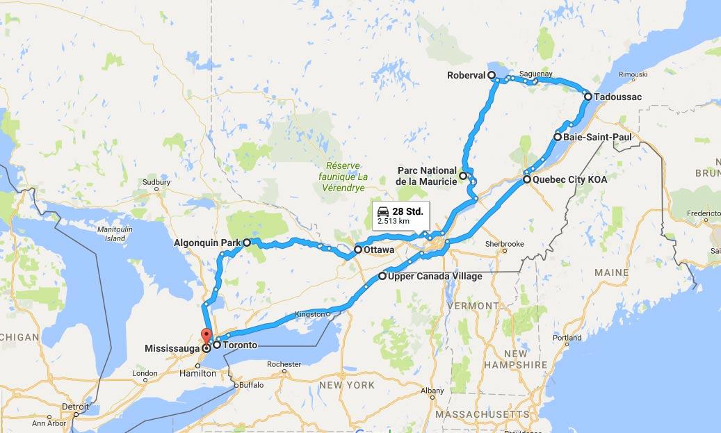 Osten Kanada Stationen Karte